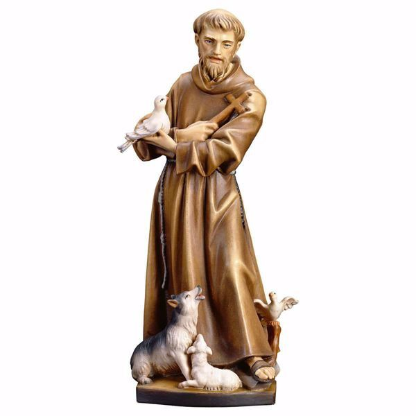 Picture of Saint Francis of Assisi with animals wooden Statue cm 20 (7,9 inch) painted with oil colours Val Gardena