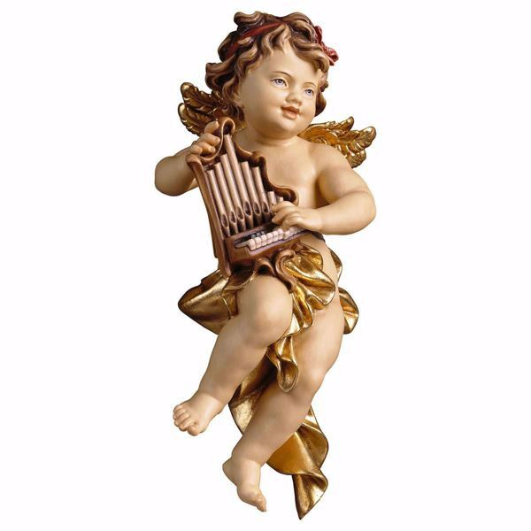 Picture of Putto Cherub Angel with organ cm 60 (23,6 inch) Val Gardena wooden Sculpture painted with oil colours