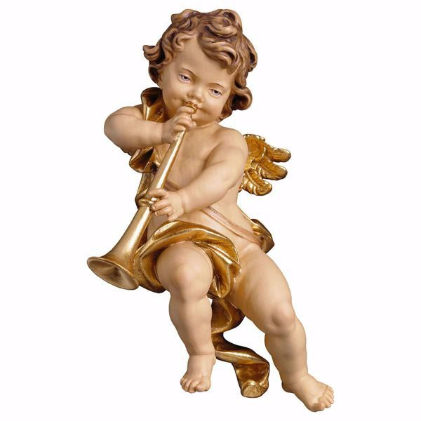 Picture of Putto Cherub Angel with trombone cm 60 (23,6 inch) Val Gardena wooden Sculpture painted with oil colours