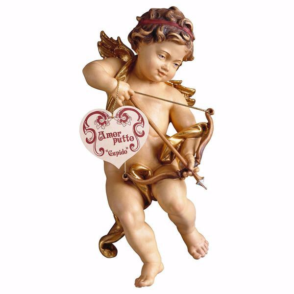 Immagine di Putto Angelo Cherubino Cupido cm 60 (23,6 inch) Scultura in legno Val Gardena dipinta ad olio