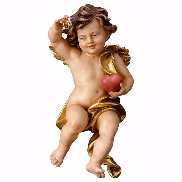 Picture of Putto Cherub Angel of the Wedding cm 60 (23,6 inch) Val Gardena wooden Sculpture painted with oil colours