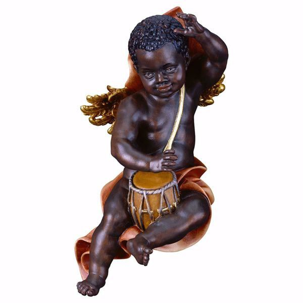Picture of Putto Cherub black Angel with drum cm 60 (23,6 inch) Val Gardena wooden Sculpture painted with oil colours