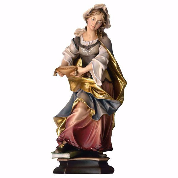 Picture of Saint Woman with book wooden Statue cm 20 (7,9 inch) painted with oil colours Val Gardena