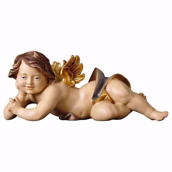 Immagine di Putto Angelo Cherubino sdraiato destro cm 60 (23,6 inch) Scultura in legno Val Gardena dipinta ad olio