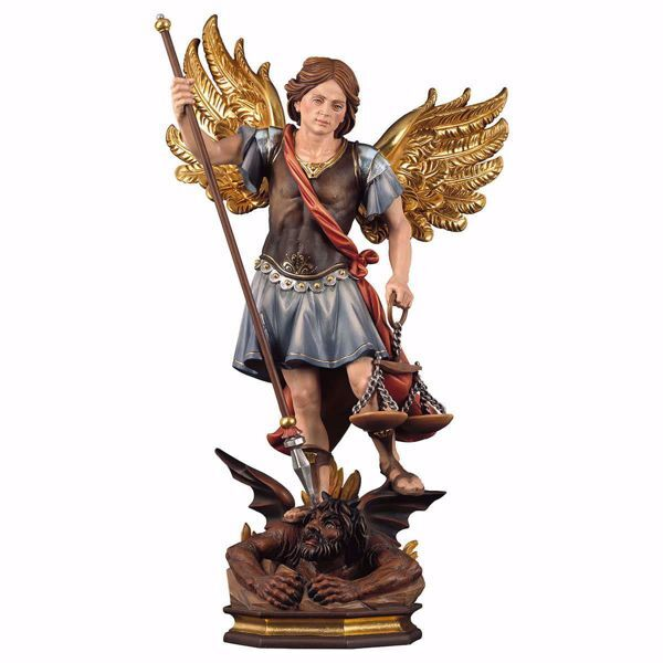 Immagine di Statua San Michele Arcangelo con bilancia cm 20 (7,9 inch) dipinta ad olio in legno Val Gardena