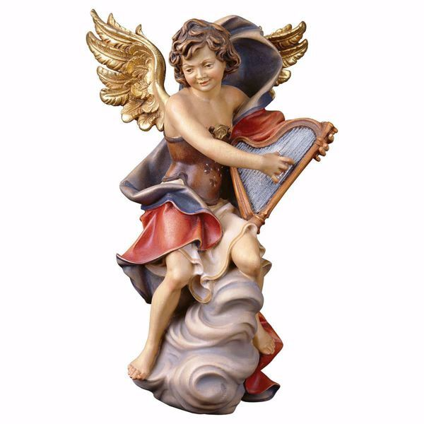 Picture of Angel on cloud with harp cm 90 (35,4 inch) Val Gardena wooden Sculpture painted with oil colours