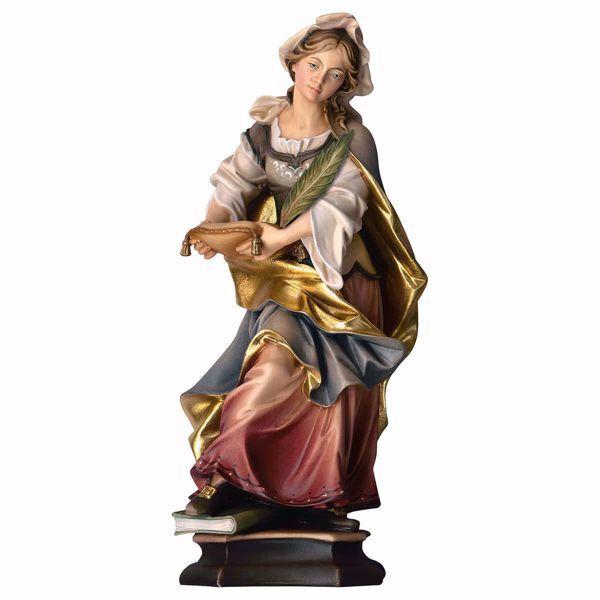 Immagine di Statua Santa Claudia con palma cm 20 (7,9 inch) dipinta ad olio in legno Val Gardena