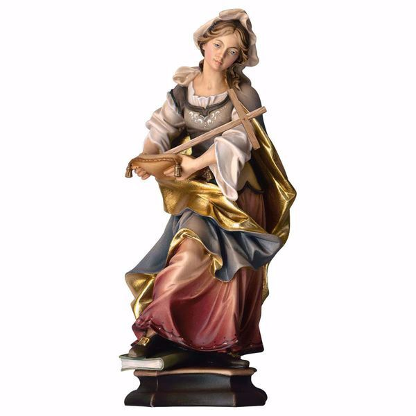 Picture of Saint Margaret of Antioch the Virgin with Cross wooden Statue cm 20 (7,9 inch) painted with oil colours Val Gardena