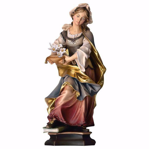 Picture of Santa Silvia with lily wooden Statue cm 20 (7,9 inch) painted with oil colours Val Gardena