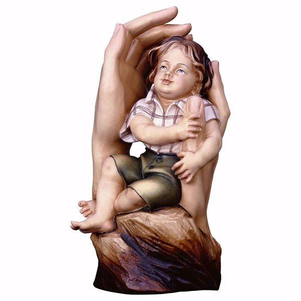 Imagen de Manos Protectoras para niño cm 16 (6,3 inch) Escultura en madera Val Gardena pintada al óleo