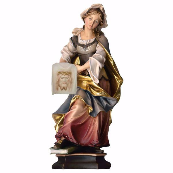 Picture of Saint Veronica of Jerusalem with shroud wooden Statue cm 20 (7,9 inch) painted with oil colours Val Gardena