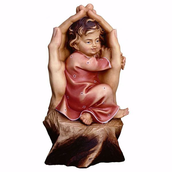 Imagen de Manos Protectoras para niña cm 25 (9,8 inch) Escultura en madera Val Gardena pintada al óleo