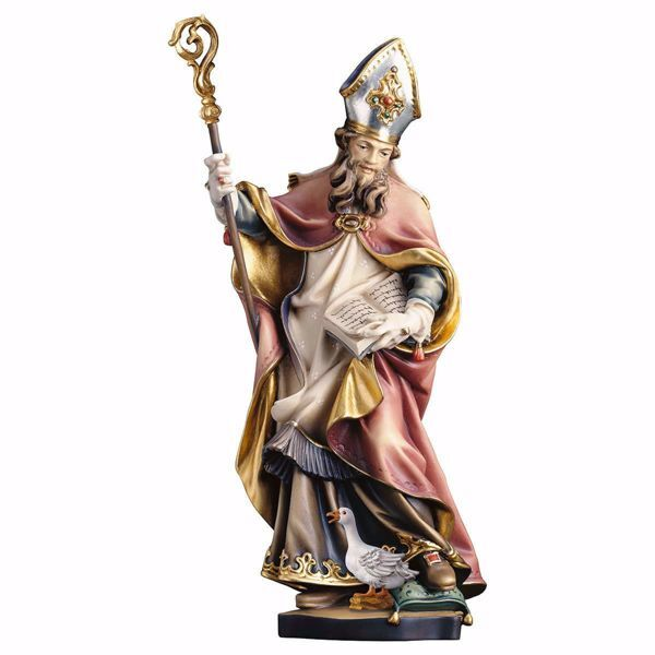 Picture of Saint Martin with goose wooden Statue cm 20 (7,9 inch) painted with oil colours Val Gardena