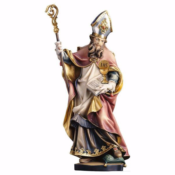 Picture of Saint Norbert of Xanten with chalice and altar bread wooden Statue cm 20 (7,9 inch) painted with oil colours Val Gardena