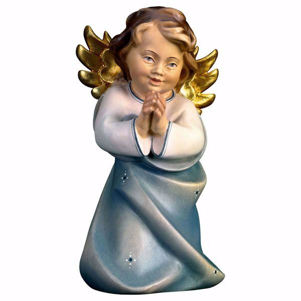 Picture of Guardian Angel Praying cm 9 (3,5 inch) Val Gardena wooden Sculpture painted with oil colours