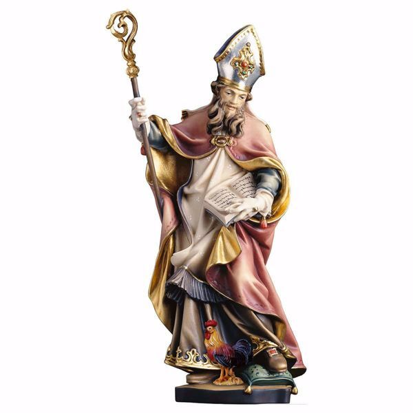 Picture of Saint Valentine with rooster wooden Statue cm 20 (7,9 inch) painted with oil colours Val Gardena