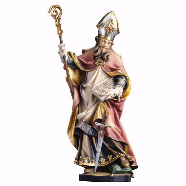 Picture of Saint Winfrid Boniface Martyr with sword wooden Statue cm 20 (7,9 inch) painted with oil colours Val Gardena
