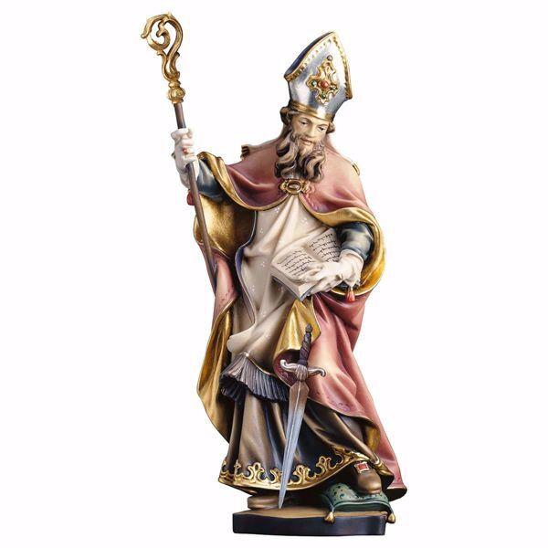 Immagine di Statua Santo Bonifacio Vescovo di Magonza con spada cm 20 (7,9 inch) dipinta ad olio in legno Val Gardena