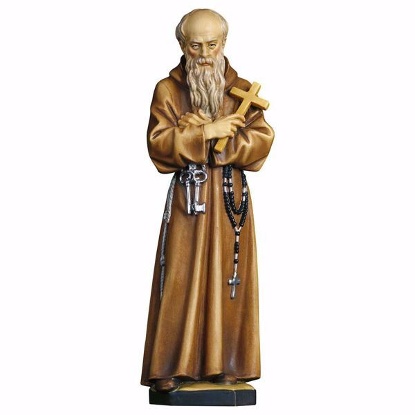 Picture of Saint Conrad Friar of Parzham wooden Statue cm 23 (9,1 inch) painted with oil colours Val Gardena