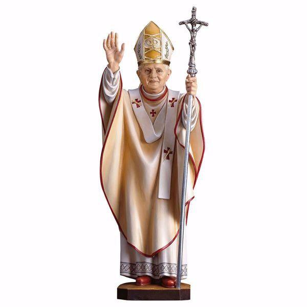 Imagen de Papa Benedicto XVI cm 42 (16,5 inch) Estatua pintada al óleo en madera Val Gardena