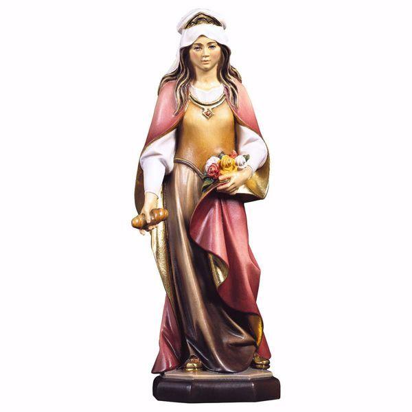 Imagen de Estatua Santa Isabel de Hungría con rosas y pan cm 23 (9,1 inch) pintada al óleo en madera Val Gardena
