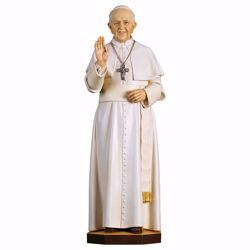 Picture of Pope Francis cm 100 (39,4 inch) wooden Statue painted with oil colours Val Gardena