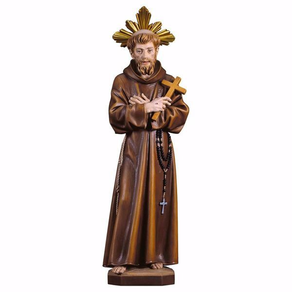 Picture of Saint Francis of Assisi with Cross and Aureole wooden Statue cm 23 (9,1 inch) painted with oil colours Val Gardena