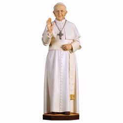 Picture of Pope Francis cm 140 (55,1 inch) wooden Statue painted with oil colours Val Gardena