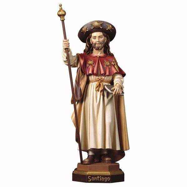 Immagine di Statua San Giacomo il pellegrino cm 23 (9,1 inch) dipinta ad olio in legno Val Gardena