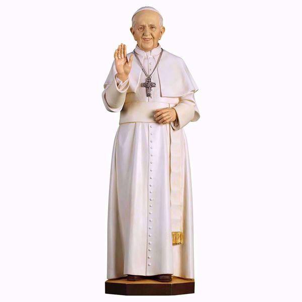 Imagen de Papa Francisco cm 30 (11,8 inch) Estatua pintada al óleo en madera Val Gardena
