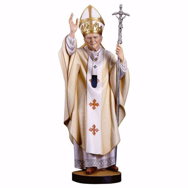 Picture of Saint Pope John Paul II cm 11 (4,3 inch) wooden Statue painted with oil colours Val Gardena