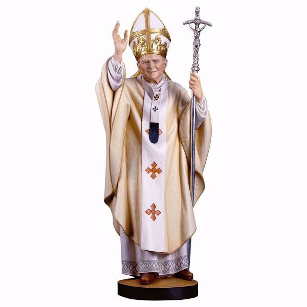 Picture of Saint Pope John Paul II cm 140 (55,1 inch) wooden Statue painted with oil colours Val Gardena