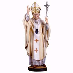 Picture of Saint Pope John Paul II cm 16 (6,3 inch) wooden Statue painted with oil colours Val Gardena