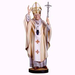 Picture of Saint Pope John Paul II cm 21 (8,3 inch) wooden Statue painted with oil colours Val Gardena