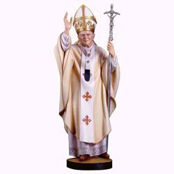 Picture of Saint Pope John Paul II cm 32 (12,6 inch) wooden Statue painted with oil colours Val Gardena