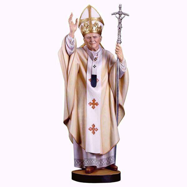 Imagen de Santo Papa Juan Pablo II cm 32 (12,6 inch) Estatua pintada al óleo en madera Val Gardena