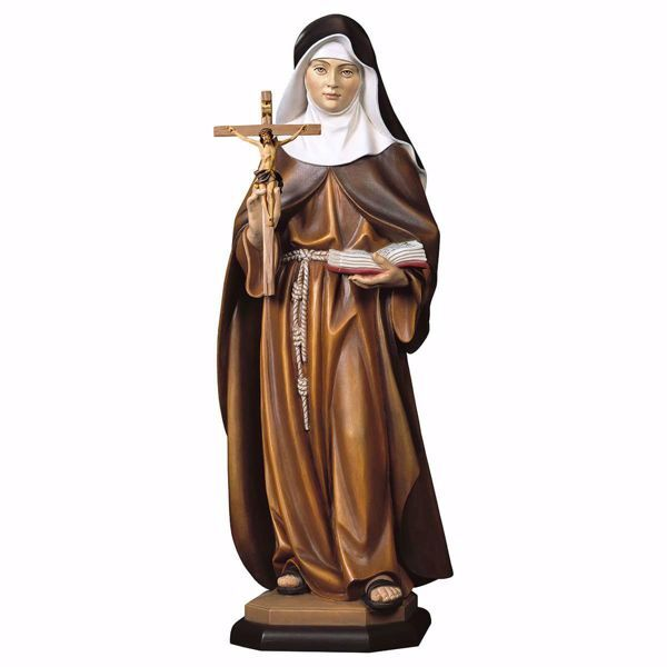 Picture of Saint Maria Crescentia Höss of Kaufbeuren with Crucifix wooden Statue cm 23 (9,1 inch) painted with oil colours Val Gardena
