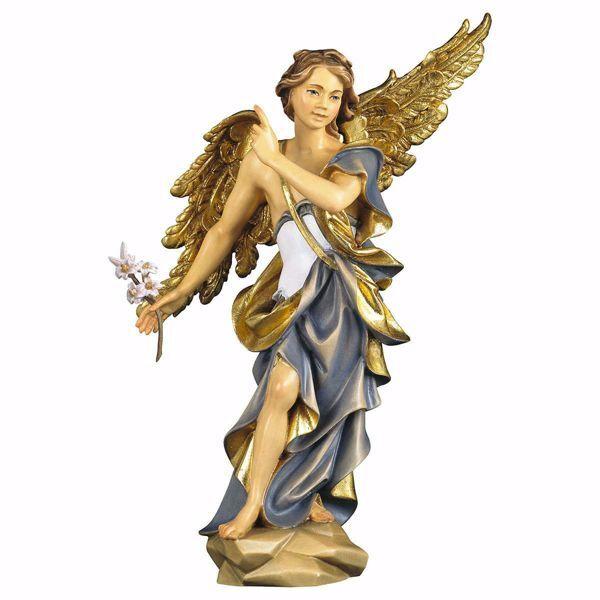 Imagen de Estatua San Gabriel Arcángel con lirio cm 23 (9,1 inch) pintada al óleo en madera Val Gardena