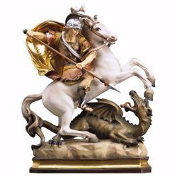 Picture of Saint George on horseback with dragon wooden Statue cm 23 (9,1 inch) painted with oil colours Val Gardena