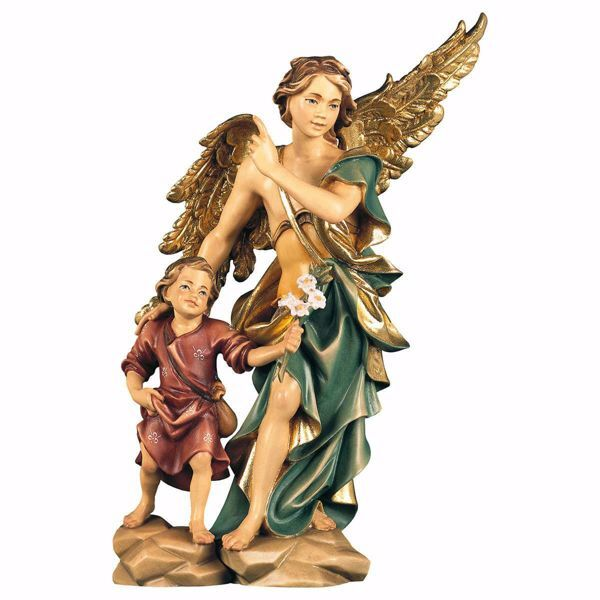 Picture of Saint Raphael Archangel with Tobias wooden Statue cm 23 (9,1 inch) painted with oil colours Val Gardena