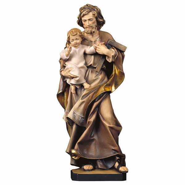 Picture of Saint Joseph with Child and square wooden Statue cm 25 (9,8 inch) painted with oil colours Val Gardena