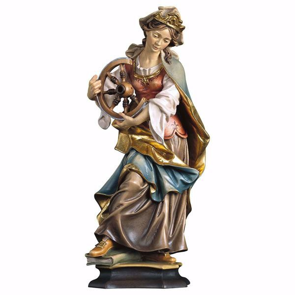 Immagine di Statua Santa Caterina da Alessandria con ruota cm 25 (9,8 inch) dipinta ad olio in legno Val Gardena