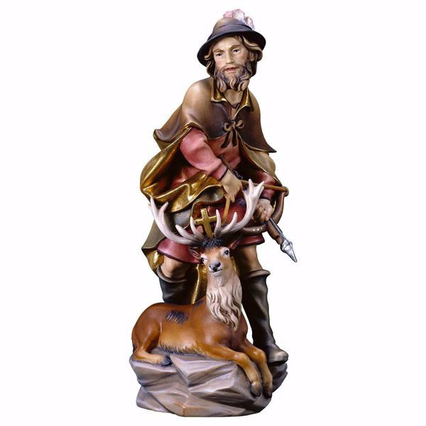 Picture of Saint Humbert with deer wooden Statue cm 25 (9,8 inch) painted with oil colours Val Gardena