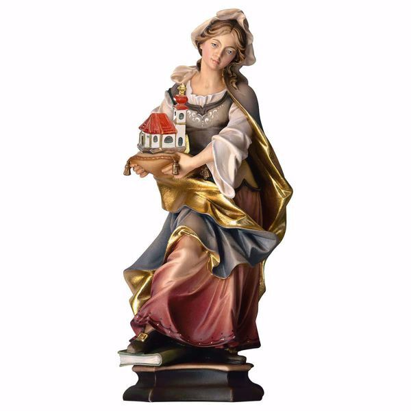 Picture of Saint Hedwig of Silesia with Church wooden Statue cm 25 (9,8 inch) painted with oil colours Val Gardena