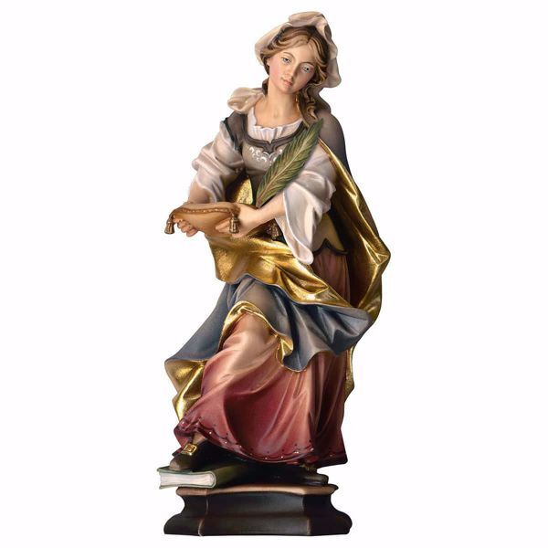 Imagen de Estatua Santa Julia de Cartago con palmera cm 25 (9,8 inch) pintada al óleo en madera Val Gardena