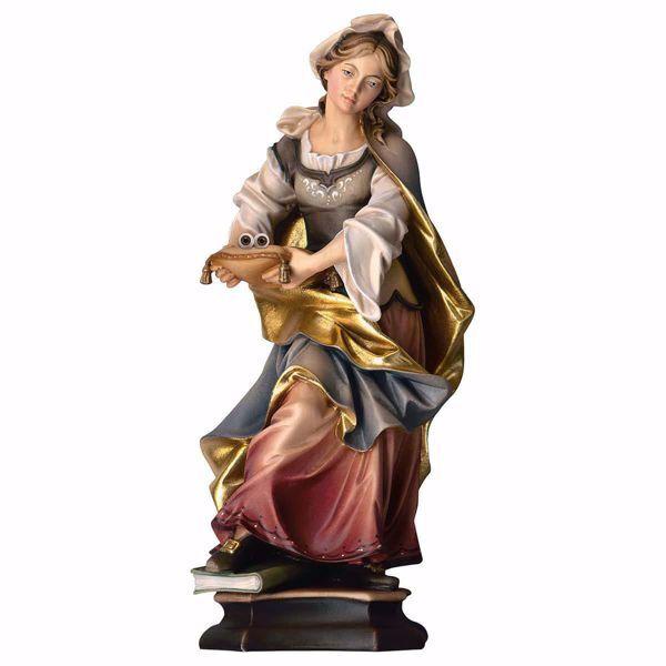 Immagine di Statua Santa Lucia da Siracusa con occhi cm 25 (9,8 inch) dipinta ad olio in legno Val Gardena
