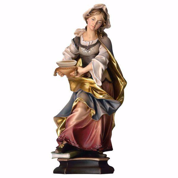 Immagine di Statua Santa Orsola da Colonia con barca cm 25 (9,8 inch) dipinta ad olio in legno Val Gardena