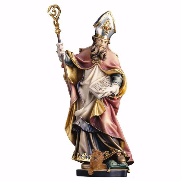 Picture of Saint Corbinian with bear wooden Statue cm 25 (9,8 inch) painted with oil colours Val Gardena