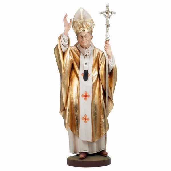 Immagine di Santo Papa Giovanni Paolo II cm 115 (45,3 inch) Statua dipinta ad olio, Mantello Oro in legno Val Gardena