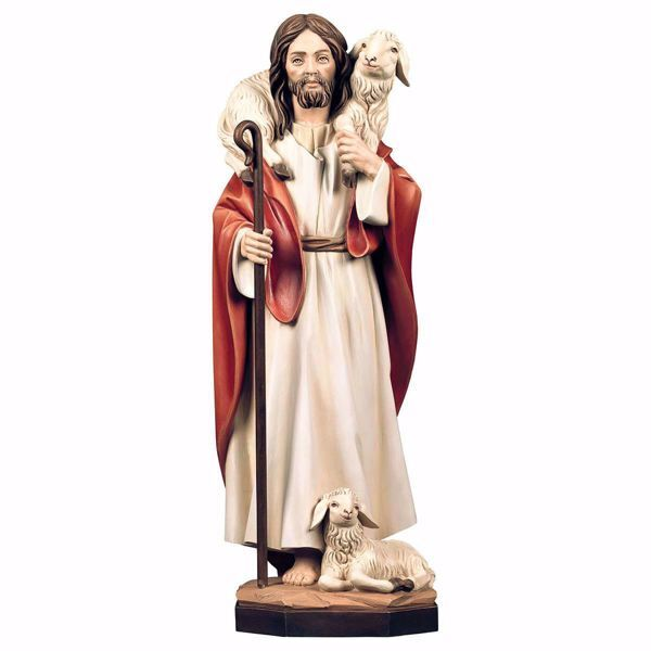 Picture of Jesus Christ the Good Shepherd cm 140 (55,1 inch) wooden Statue painted with oil colours Val Gardena